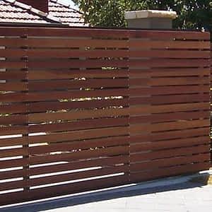 Brown Slatted Fence - Aus-Secure