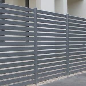 Grey Slatted Fence - Aus-Secure