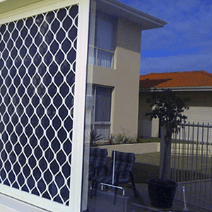 Whilte Diamond Grille Security Screen on Window - Aus-Secure